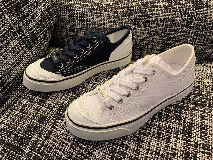J-Shop Luxury 精品店 Chanel 爆款帆布運動鞋 深藍/白