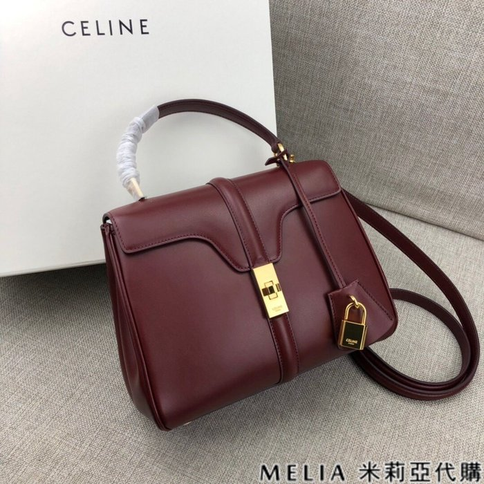 Melia 米莉亞代購 商城特價 數量有限 每日更新 19ss CELINE 單肩手提包 機車包 巴黎時尚 酒紅色