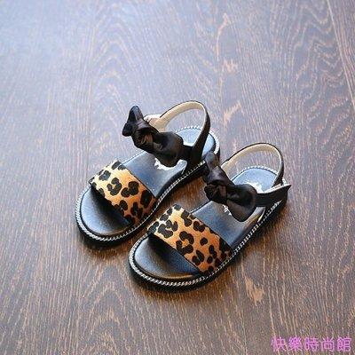 夏季新款韓版女童涼鞋公主鞋豹紋寶寶鞋兒童沙灘鞋女童鞋