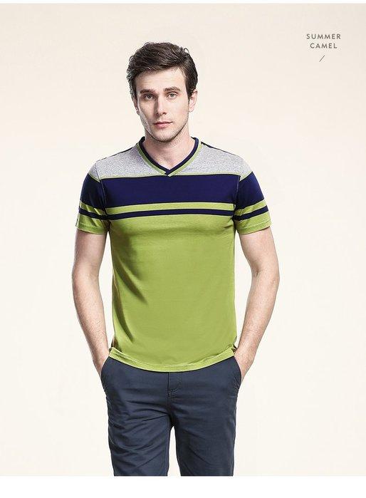 時尚服飾 CAMEL駱駝男裝 青年V領休閑條紋棉T恤衫 男士撞色上衣時尚T恤X6B024253
