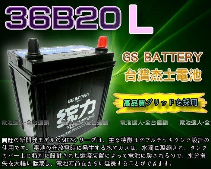 【鋐瑞電池】杰士 GS 統力 汽車電池 36B20L 本田 FIT 現代 i10 ALTIS 發電機 38B19L