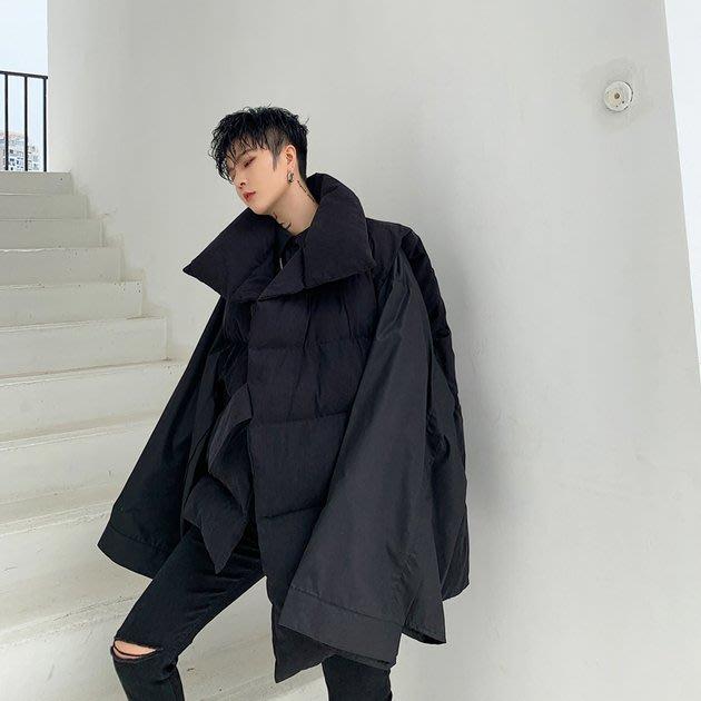 FINDSENSE 2019 秋冬上新 G19  黑色不對稱寬鬆慵懶不規則麵包棉馬甲男裝百搭寬鬆休閒外套