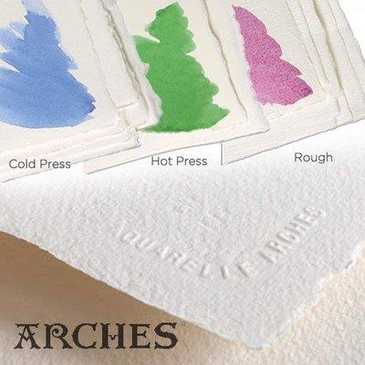 板橋酷酷姐美術! 法國Arches水彩紙185g!100%棉!56*76cm !熱壓細紋!五張以下ㄧ律用卷的