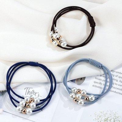 ☜shop go☞ 髮束 珠珠 髮飾 彈性髮圈 橡皮筋 飾品 手繩 髮帶 素色 女孩 珍珠多層髮圈(1入)【F061】
