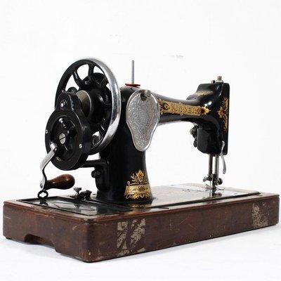 百寶軒 1935英國古董老式二手勝家Singer純機械老式手搖縫紉機功能正常 ZG2298