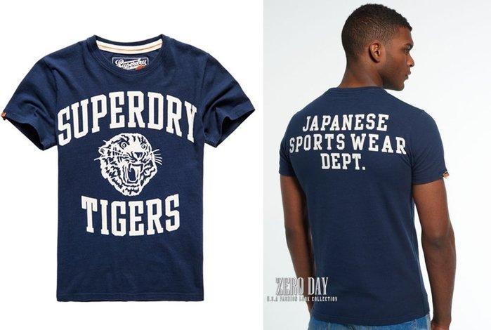 【零時差美國】英國Superdry極度乾燥專櫃真品Tigers Gym Class T-shirt老虎頭雙面tee深藍色