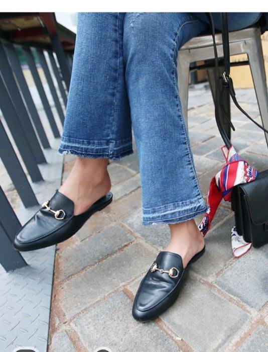 NETSHOP collection  Slippers 高質感環扣 皮革復古樂福鞋 金屬懶人鞋 ~黑色款