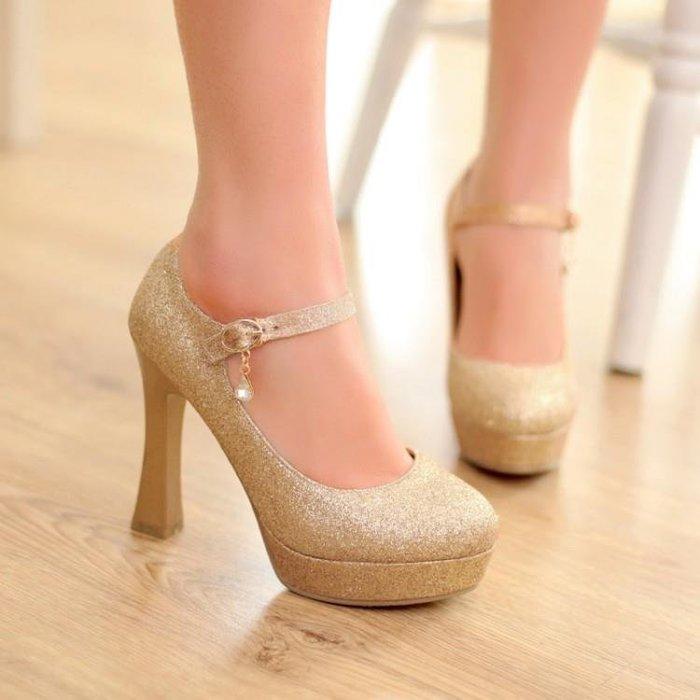 一字扣帶圓頭超高跟鞋防水臺粗跟紅色金色銀色婚鞋性感亮片女單鞋