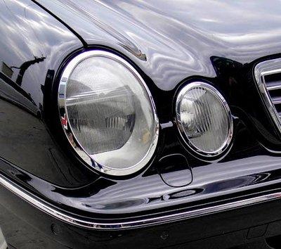 金螃蟹賓士 E W210 鍍鉻大燈框 E200 E220 E280 E300 E320 E55 AMG 改裝 精品 配件