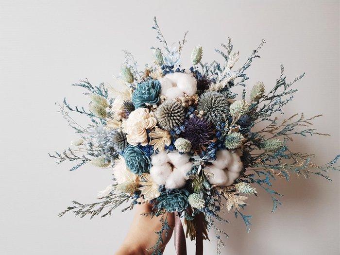 D97。藍色系乾燥捧花。台北歡迎自取。西門【Flower&House花藝之家】
