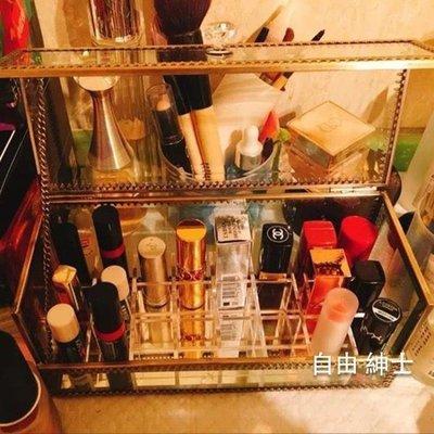 化妝品收納盒桌面化妝品口紅收納盒玻璃架子翻蓋防塵透明唇膏彩妝整理盒防水韓WY
