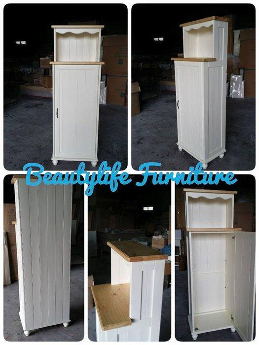 美生活館---客訂商品---鄉村全原木 單門 梯型  雙色  收納櫃/置物櫃 ---可依尺寸與顏色再報價