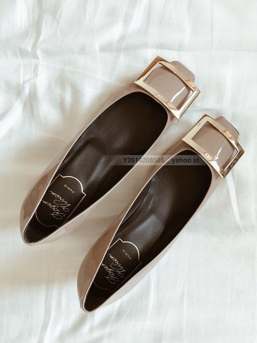 【代購】Roger vivier Belle Vivier Trompette 漆皮 方頭 高跟鞋 45mm 灰色