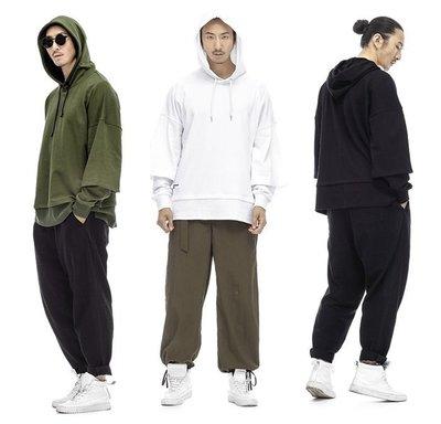 Cover Taiwan 官方直營 Oversize 帽Tee 帽T 衛衣 假兩件 寬鬆 黑色 白色 軍綠色 (預購)