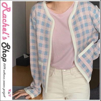 韓國空運*cherrykoko粉x藍配色格紋開襟針織外套[CK-CB02SYCD6]Rachel's Shop