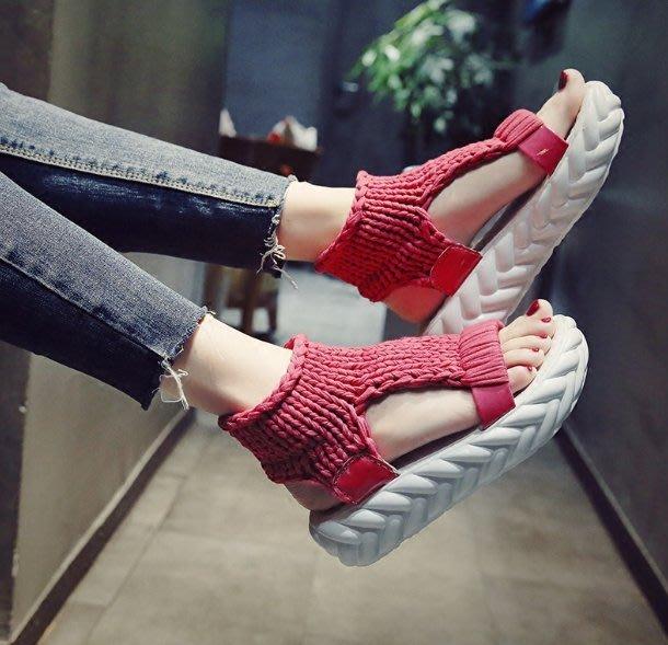 涼鞋  厚底松糕鞋  新款露趾羅馬涼鞋 毛線女鞋子—莎芭