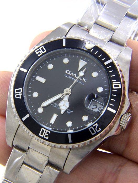 (六四三精品)中型歐美仕(真品)黑色外框.黑色錶面.錶徑3.4公分.黑鬼王精準錶!