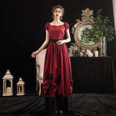 元宵節大裙擺一字肩歐洲宮廷服復古舞臺表演顯瘦女仆長裙年會禮服