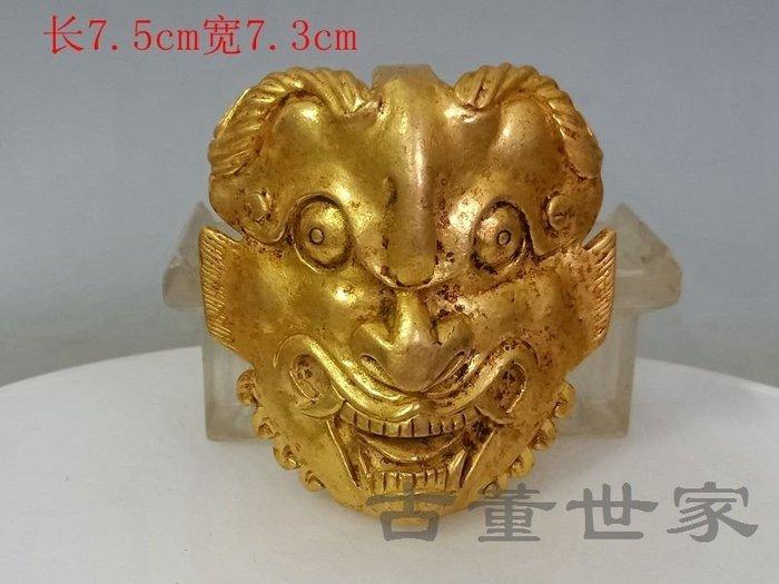 【聚寶閣】古董古玩雜項戰漢做工精緻的老金腰帶佩 sbh4478