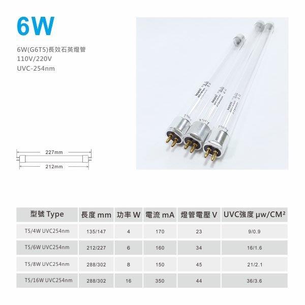 6W-UVC254-石英長效紫外線殺菌燈管G6T5(奶瓶消毒器用)/另有4W.8W.16W