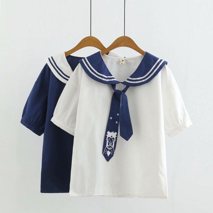 襯衫 森女系 文藝范 日系學院風軟妹閨蜜裝海軍領美少女夏季新款襯衫領帶小清新減齡