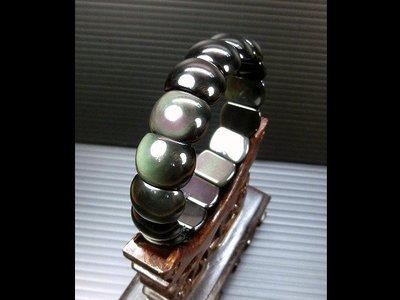 □§Disk的天然水晶§□【彩虹眼】天然彩虹黑曜石半圓形手排珠手鍊(直徑 12mm)FP21
