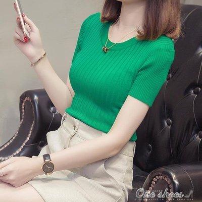 針織短袖 短袖女冰絲針織衫  chic打底薄緊身上衣短款t恤潮
