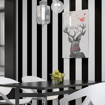 壁紙 復古 墻紙 唯美 簡約 北歐簡約黑白豎條紋墻紙現代餐廳奶茶店咖啡廳美發服裝店背景壁紙