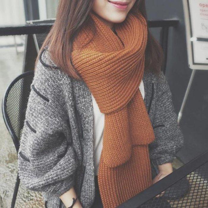 韓版情侶圍巾冬季加長粗毛線圍巾女百搭加厚秋冬季韓版圍脖男學生