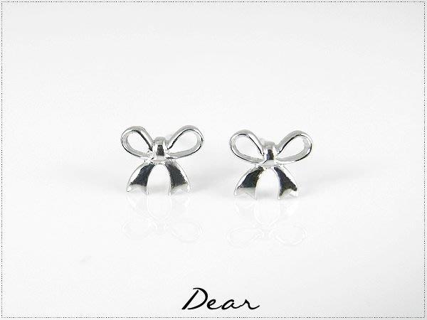 ◎【 Dear Jewelry 】◎ 千頌伊也有戴?小小蝴蝶結白K金耳環---免運