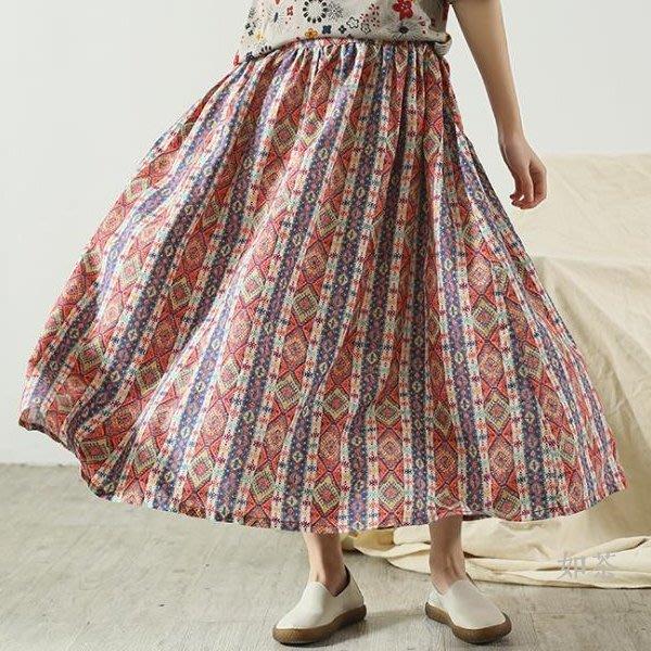 【如茶】波西米亞風鬆緊腰印花亞麻裙