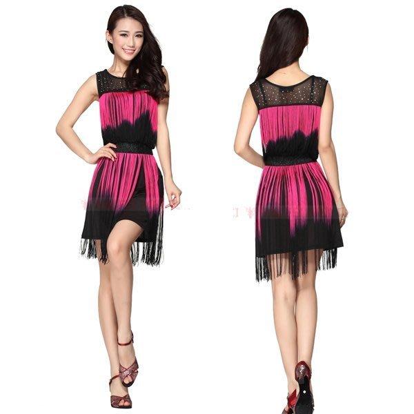 5Cgo【鴿樓】會員有優惠 25063608529 雙色拼接流蘇拉丁舞舞衣 舞裙 舞蹈服 練習裙 舞蹈服裝
