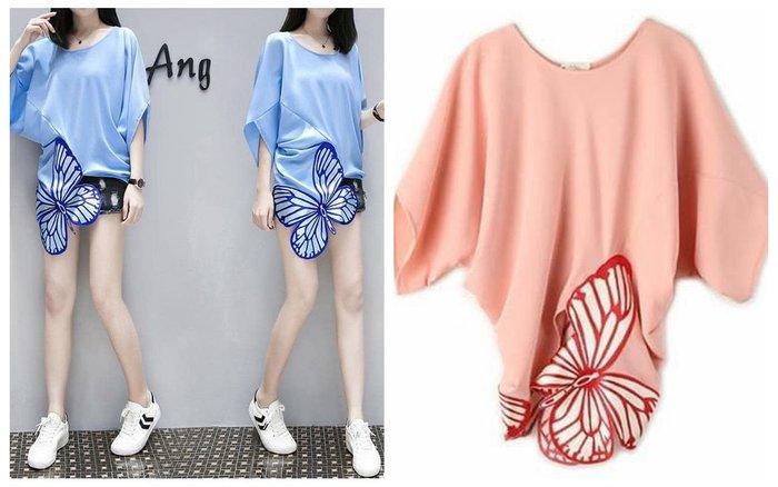 貓姐的團購中心~203D 刺繡蝴蝶蝙蝠袖寬松雪紡衫~2種顏色~S-2XL一件390元~預購款