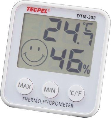 TECPEL 泰菱 》DTM-302 溫濕度計 溫溼度計 溫度計 銀白色 室內溫濕度計 買一送一