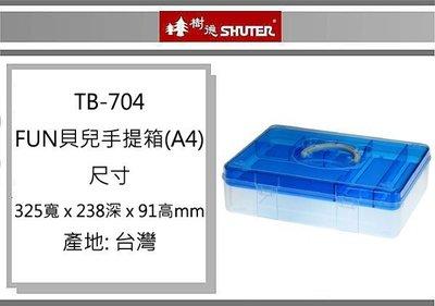 (即急集) 999免運 樹德 TB-704 FUN貝兒手提箱(A4) 零件箱 收納箱 工具盒 顏色 出貨