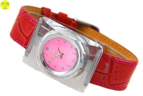 (六四三精品)ANDRO(真品)壓克力切割錶殼.粉紅色面盤及錶帶精準錶!