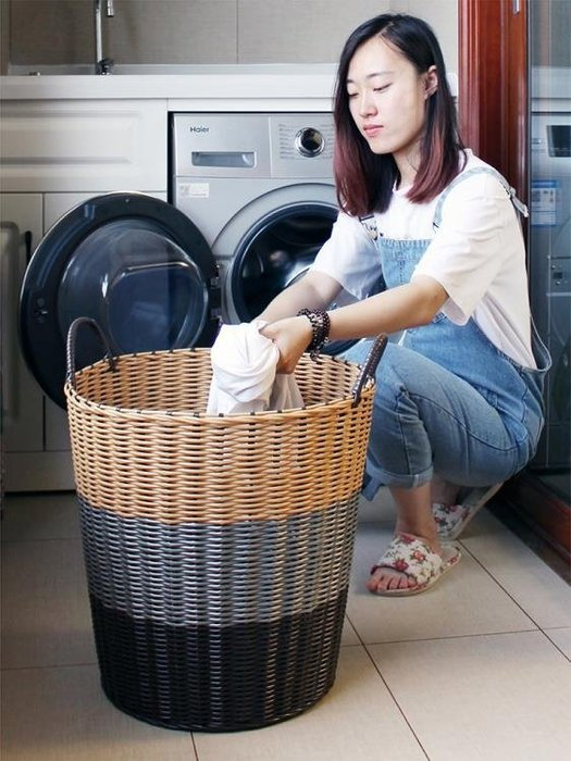 塑料藤編髒衣籃髒衣服收納筐