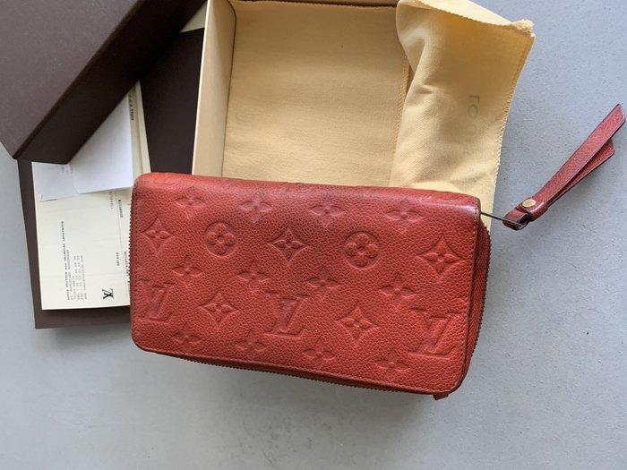 LV Louis Vuitton 紫紅色壓紋牛皮10卡拉鍊發財長夾
