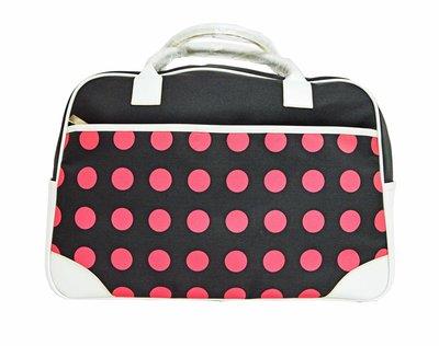 特價包包!! 粉色 圓點 圓角 手提包 旅行袋 行李袋 旅遊 收納 外用包 大包F-033