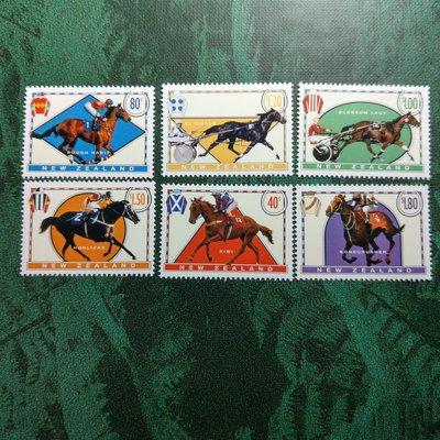 【大三元】紐澳郵票-040紐西蘭 --賽馬-新票6全1套-原膠上品