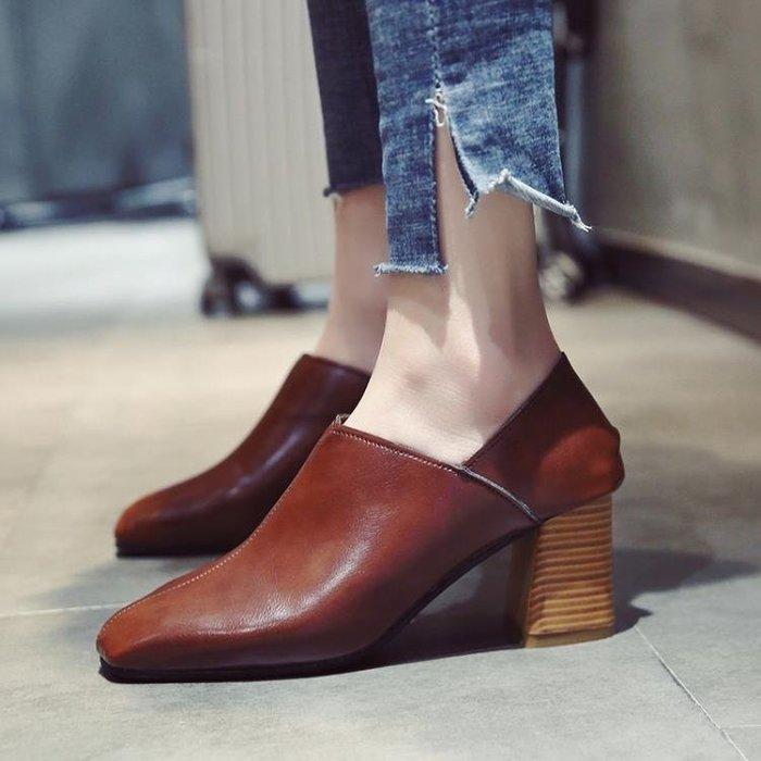 ☜男神閣☞2018春季新款正韓方頭奶奶鞋粗跟百搭復古單鞋中跟女鞋高跟鞋兩穿