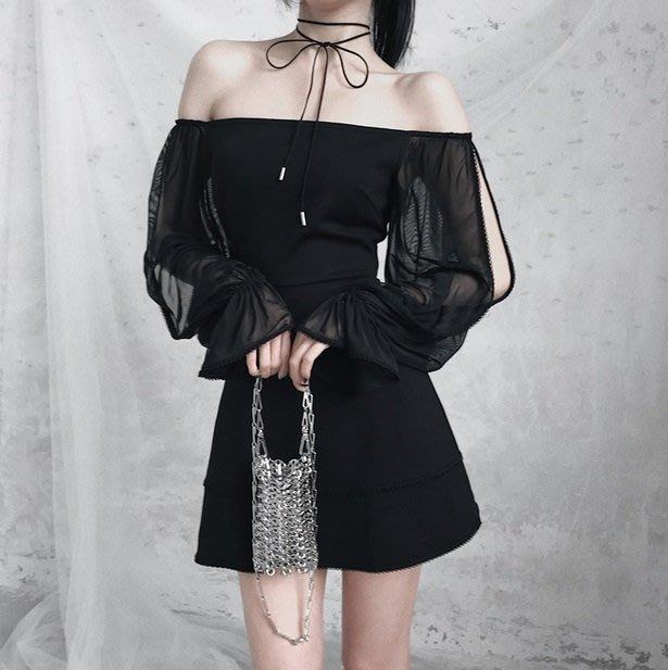 【黑店】原創設計 訂製款暗黑系宮廷風露肩洋裝 一字平口長袖收腰洋裝 超顯瘦法式浪漫洋裝 宴會洋裝性感洋裝小黑裙VK129