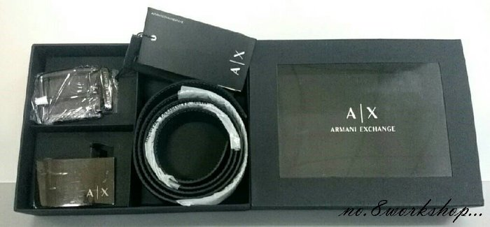 ☆【A/X皮帶館】☆【100%真品Armani Exchange皮帶禮盒組】☆【AXB001E1】雙面帶(黑/暗藍)12/10到貨