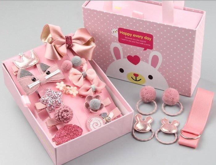 【UIshop】限時特價~韓國熱銷~18件組兒童立體造型髮夾髮圈套裝禮盒/兒童生日禮盒/禮品/兒童飾品/兒童髮飾