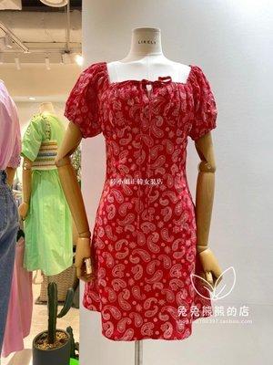 陸小姐正韓女裝店2020韓國東大門代購進口夏裝新款LIKELY-P時尚印花系帶短袖連身裙