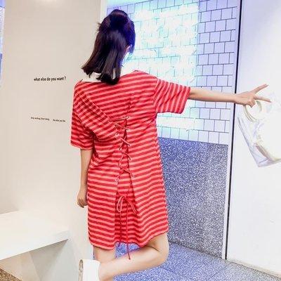 日和生活館 夏季寬鬆休閒顯瘦繫帶條紋V領POLO洋裝PPHOME裙子S686
