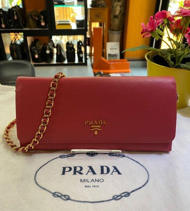美麗堡outlet Prada (wallet on chain金鍊包) 1M1290長夾/手拿夾/斜背 玫瑰紅【現貨】