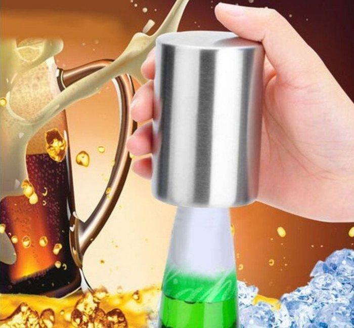 【主婦廚房】創意型開瓶器/不銹鋼自動開瓶器/套上瓶蓋一按即可開啟瓶蓋.省力.簡單.方便(啤酒.香檳等)