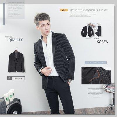 。SW。【K31190】正韓MR 韓國製 修身顯瘦 質感 彈性西裝布 窄版雅痞 劍領 黑 條紋西裝外套 英倫GD