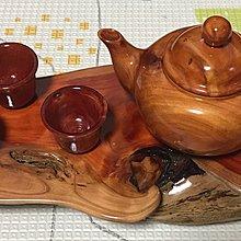 台灣龍柏茶壺 3個龍柏茶杯 天然龍柏閃花底座 紅油 非聚寶盆